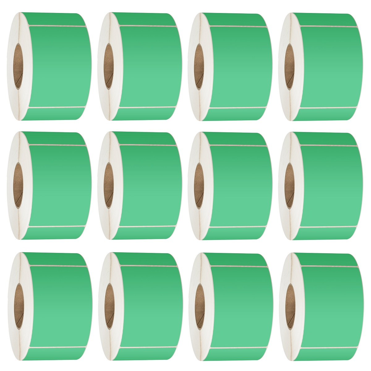 View 76X48 Thermal Transfer Labels 3000/Roll 76mm Core Green - 12 Rolls