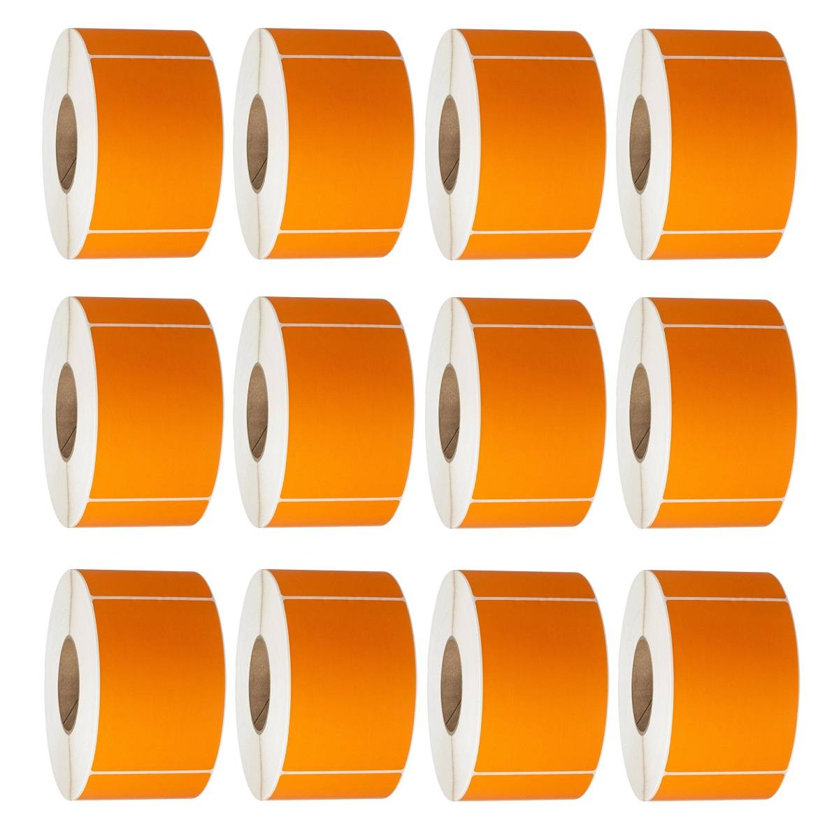 View 76X48 Thermal Transfer Labels 3000/Roll 76mm Core Orange - 12 Rolls