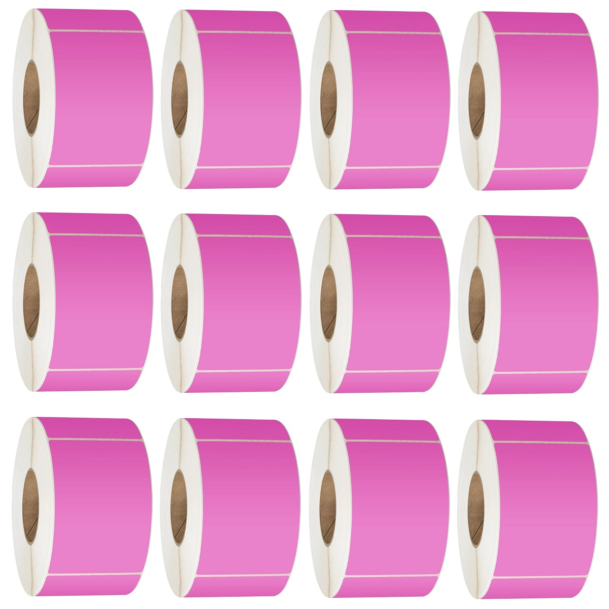 View 76X48 Thermal Transfer Labels 3000/Roll 76mm Core Pink - 12 Rolls
