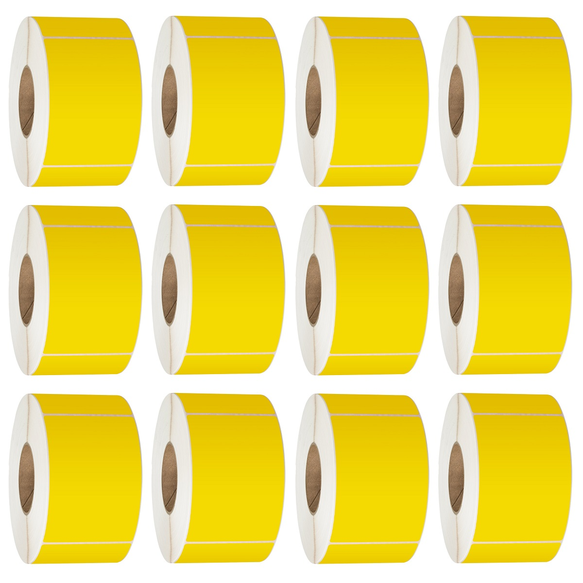 View 76X48 Thermal Transfer Labels 3000/Roll 76mm Core Yellow - 12 Rolls