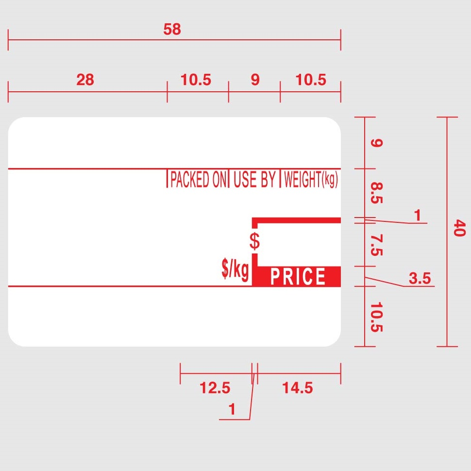 View CAS 58x40 Scale Labels (Pre-Printed) - 30 Rolls