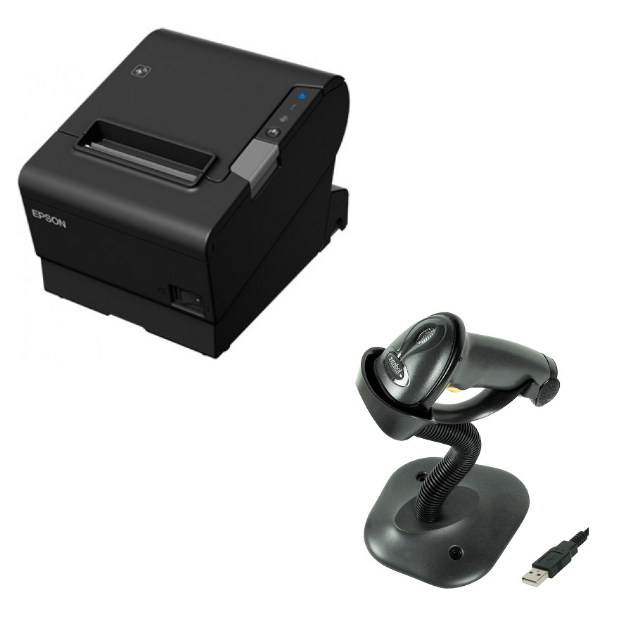 View Epson TM-T88VI POS Receipt Printer with Zebra LS2208 Barcode Scanner