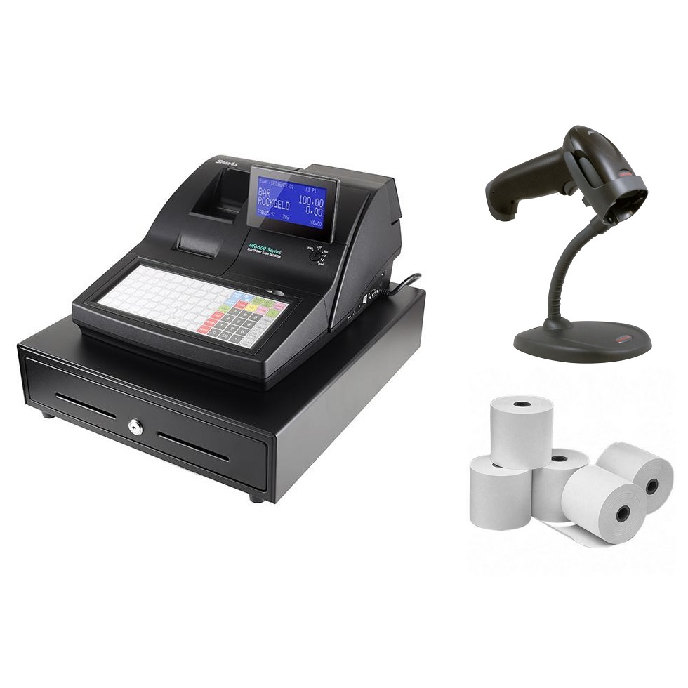 View Sam4s NR510 Cash Register + Honeywell 1250G Scanner Bundle