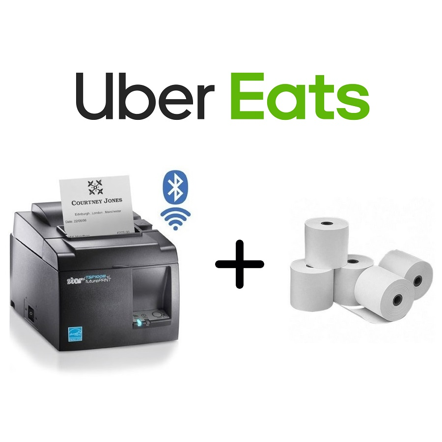 View Uber Eats Star TSP143IIIBI Printer + Paper Rolls Bundle