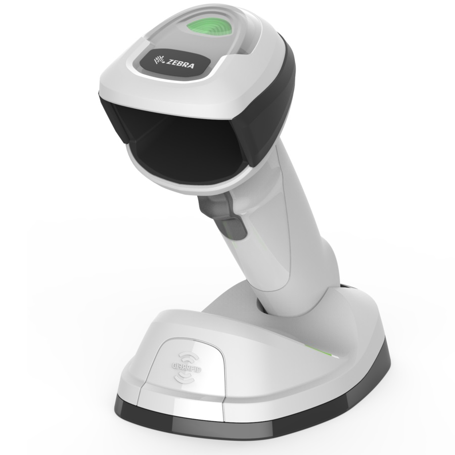 View Zebra DS-9908 2D-HD Healthcare Wireless Barcode Scanner Kit White